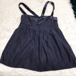 J. Crew Navy Blue Silk Babydoll Blouse 0